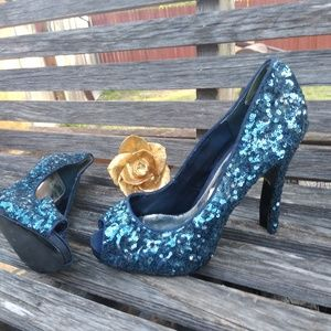 Shoes - JessicaPaster/blue open toe heels 10